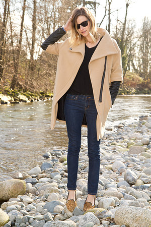tan Zara coat - navy BDG jeans - camel Zara loafers