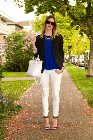 blue Guess heels - white Zara jeans - black Aritzia blazer - white Zara bag