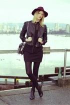 black Topshop boots - maroon H&M hat - black Forever 21 jacket