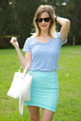 White-zara-bag-sky-blue-witchery-top-aquamarine-sheike-skirt