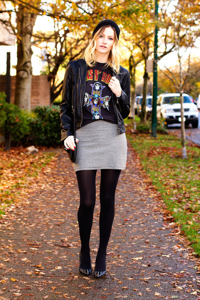 black Forever 21 jacket - black Urban Outfitters t-shirt