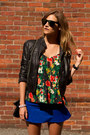 Blue-choies-skirt-black-forever-21-jacket-black-choies-sunglasses