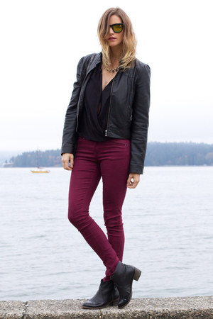 black Topshop boots - maroon Zara jeans - black Zara blouse