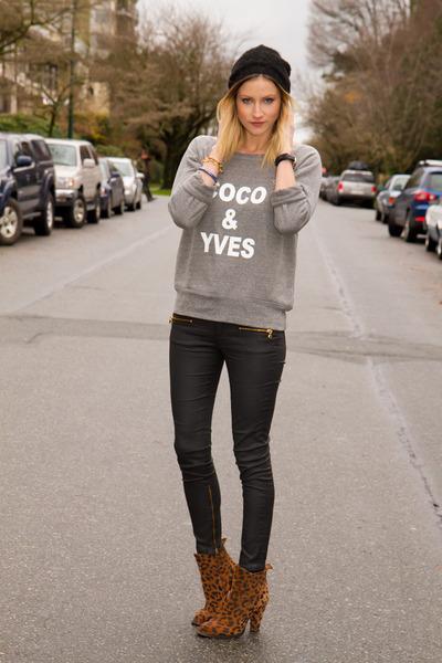 heather gray XO Bella sweater - brown Zara boots - black Zara pants