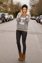 heather gray XO Bella sweater - brown Zara boots - black Zara pants