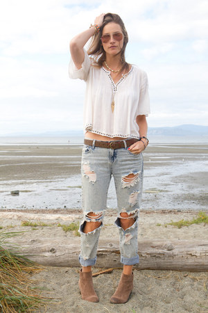 off white peasant Denim & Supply Ralph Lauren top - tan Vince Camuto boots