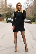 black Zara dress - black Fiore tights - purple Anthropologie bag