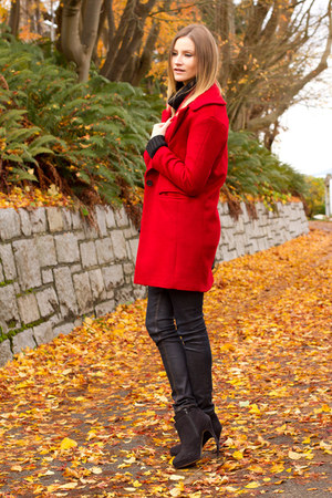 red Zara coat - navy rag & bone jeans - black Rebecca Minkoff bag