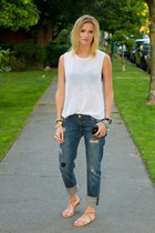 blue Zara jeans - white Zara top - nude H&M sandals