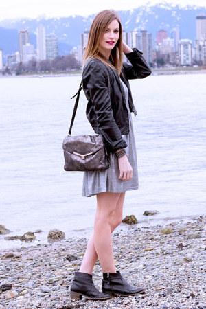 silver MinkPink dress - black Topshop boots - silver botkier bag