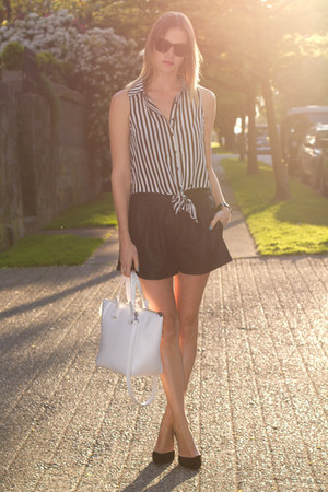 black Zara shorts - white Zara bag - dark brown sass &amp; bide sunglasses