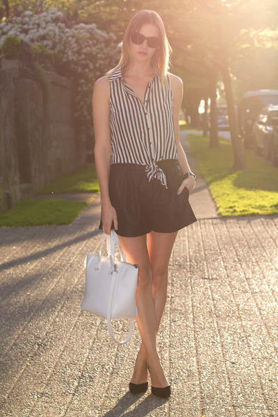 black Zara shorts - white Zara bag - dark brown sass & bide sunglasses
