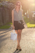 black Zara shorts - white Zara bag - dark brown sass & bide sunglasses