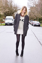 gray Urban Outfitters coat - silver Sheinside sweater - eggshell Zara skirt