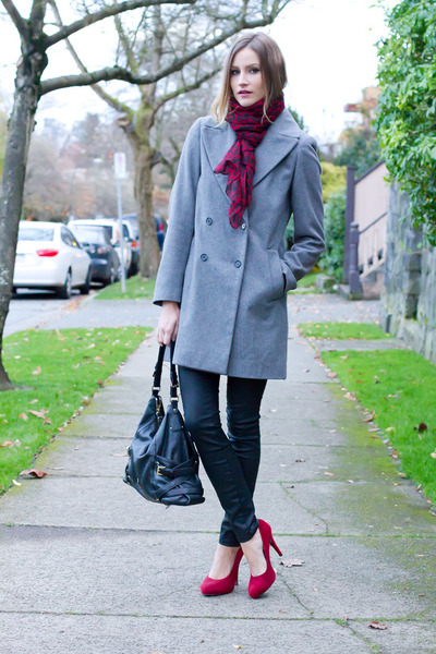 heather gray Zara coat - black Current Elliot jeans - ruby red Browns heels