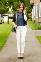 white Zara jeans - black Forever 21 jacket - silver botkier bag