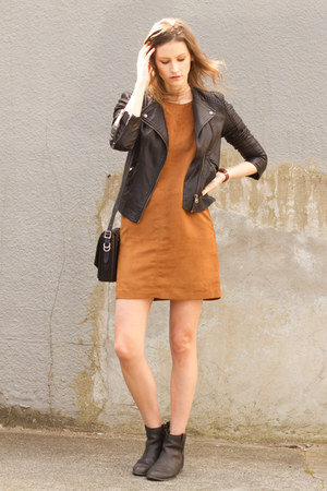 black sam edelman boots - bronze Sanctuary dress - black Topshop jacket