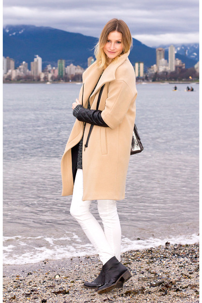 white Zara jeans - black Topshop boots - beige Zara coat