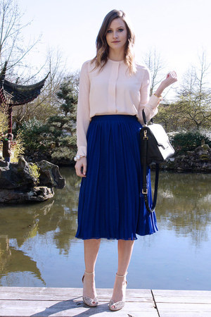 blue asos skirt - black kate spade bag - peach Zara top