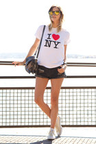 silver botkier bag - dark gray One Teaspoon shorts - off white Converse sneakers