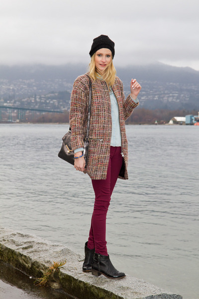 coral Topshop coat - black Topshop boots - maroon H&amp;M jeans