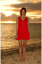 red Sportsgirl dress - turquoise blue True Worth Design necklace