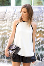 Silver-botkier-bag-black-zara-shorts-black-vince-heels-white-zara-top