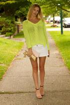 chartreuse Zara sweater - nude Zara heels
