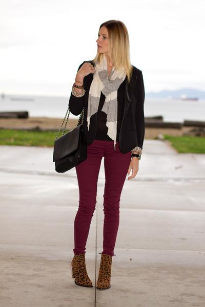 black Urban Outfitters blazer - brown leopard print Zara boots