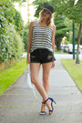 Black-one-teaspoon-shorts-white-joe-fresh-style-top-blue-guess-heels