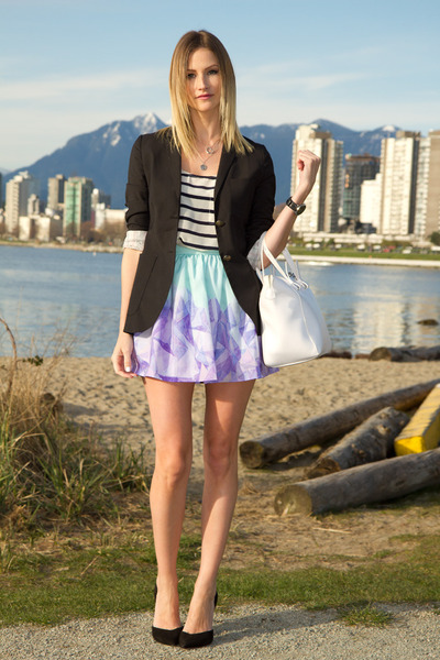 black Aritzia blazer - blue Joe Fresh top - periwinkle Here Comes The Sun skirt