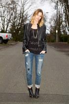 black Topshop boots - silver botkier bag - black Forever 21 top