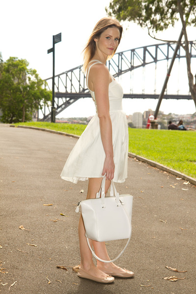 white Zara bag - ivory angel biba dress - neutral Topshop flats