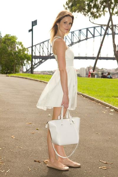 white Zara bag - ivory angel biba dress - neutral Topshop flats