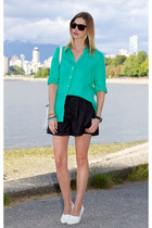 aquamarine JCrew top - black Zara shorts - white H&M wedges