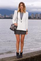 gray Aritzia skirt - black Topshop boots - white Zara blazer