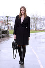 black banana republic coat - black kate spade bag - black Michael Kors flats