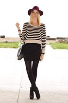 black Zara boots - magenta H&M hat - H&M sweater - black Zara bag