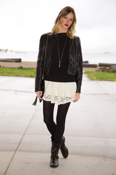 black Forever 21 jacket - ivory Aritzia dress