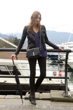 black vince boots - black 7 for all mankind jeans - black Topshop jacket
