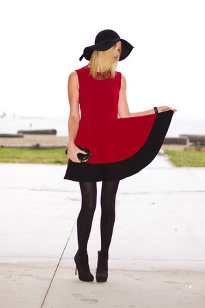 black Zara boots - ruby red Sugarlips dress - black Zara hat