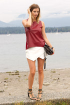 white Zara skirt - silver botkier bag - black H&M sandals - brick red Zara top