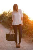 eggshell Zara top - navy Paige jeans - black Zara heels