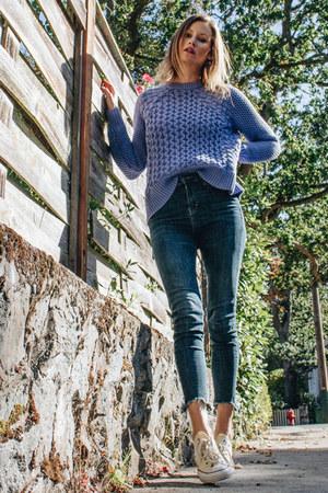 navy Topshop jeans - deep purple acne sweater - cream Converse sneakers