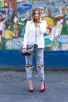 sky blue One Teaspoon jeans - white Zara blazer - ruby red Browns heels