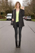 black Zara boots - dark gray Urban Outfitters coat - lime green Zara sweater