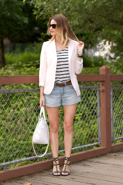 light pink H&M blazer - light blue H&M shorts - white Joe Fresh top