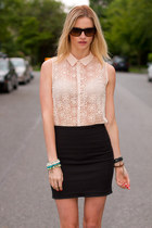 peach peach blouse Zara blouse - black Zara skirt
