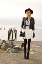 black Zara boots - off white white lace Sugarlips dress - maroon H&M hat