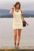 light yellow Zara dress - silver botkier bag - black H&M sandals